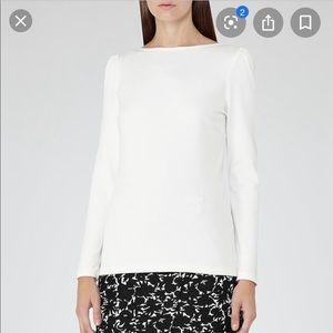REISS Erol Off-White Puff Shoulder Top